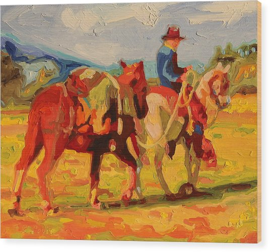 Cowboy Art Cowboy Leading Pack Horse Painting Bertram Poole Wood Print