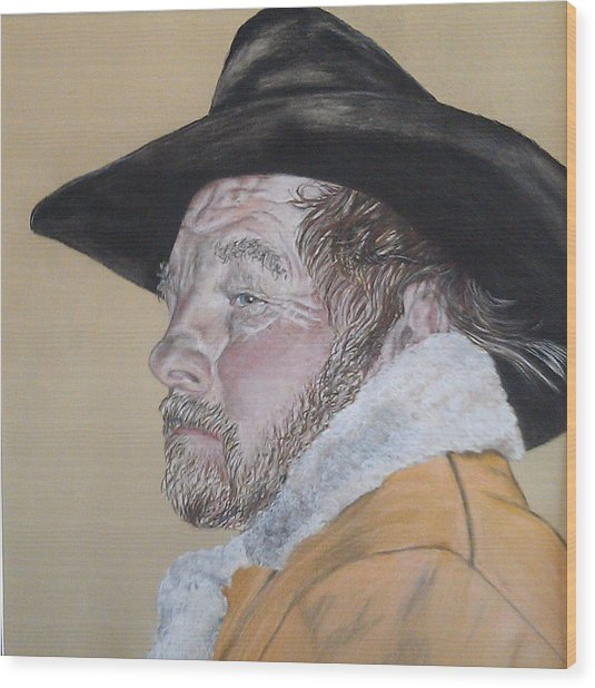 Cowboy Pastel Wood Print by Ann Marie Chaffin
