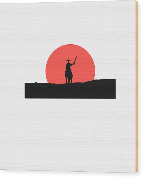 Cowboy With A Gun On A Horse In The Wood Print