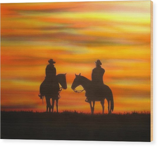 Cowboys At Sunset Wood Print