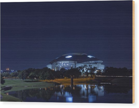 Cowboys Stadium Game Night 1 Wood Print
