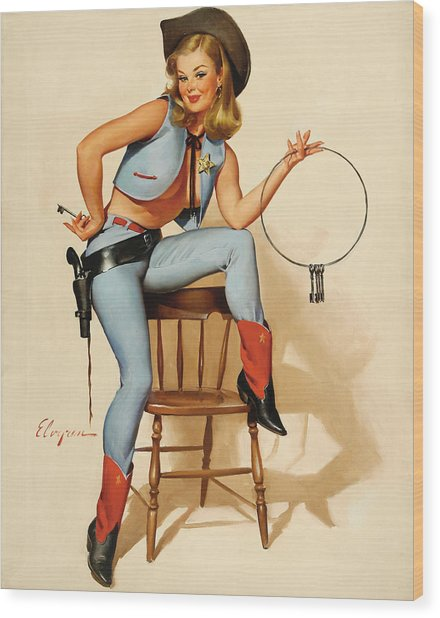 Cowgirl Pin-up Girl Wood Print