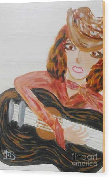 Cowgirl Singer Wood Print by Marie Bulger