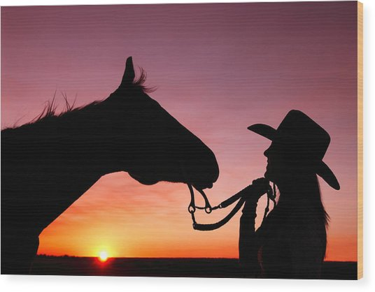 Cowgirl Sunset Wood Print