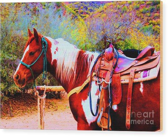 Cowgirl Up Wood Print