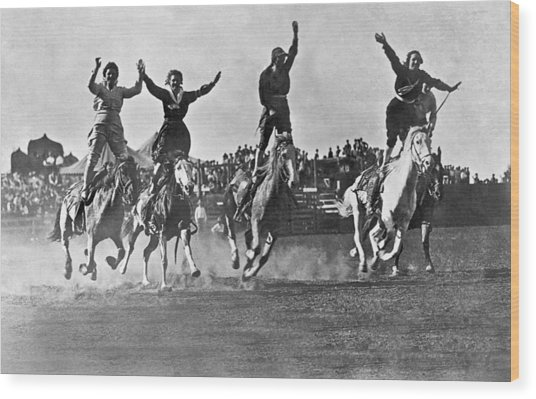 Cowgirls At The Rodeo Wood Print