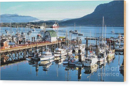 Cowichan Bay Marina  Bc Wood Print by Claudette Bujold-Poirier