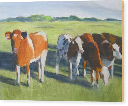 Happy Cows  Wood Print