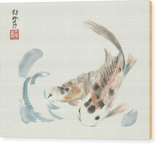 Coy Koi Wood Print