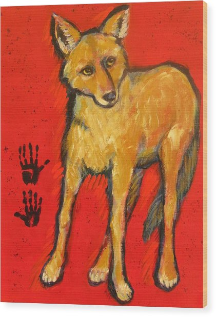 Coyote And Hand Prints Wood Print