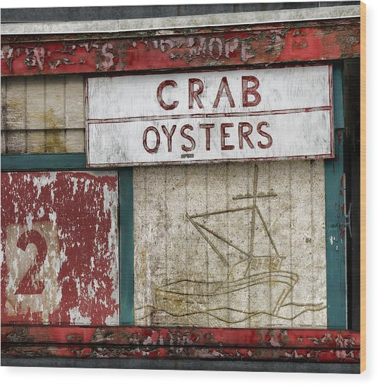 Crab And Oysters Wood Print
