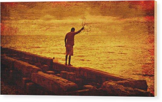 Crab Fishing At Siesta Keys Florida Wood Print