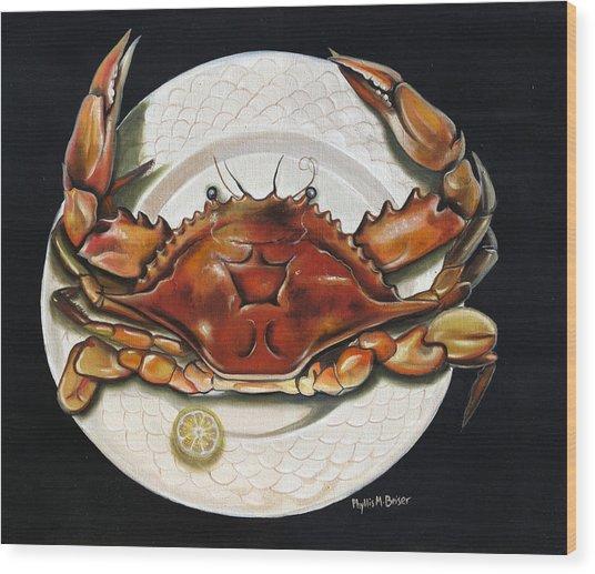 Crab  On Plate Wood Print
