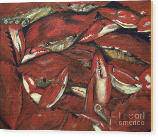 Crab Stack Wood Print