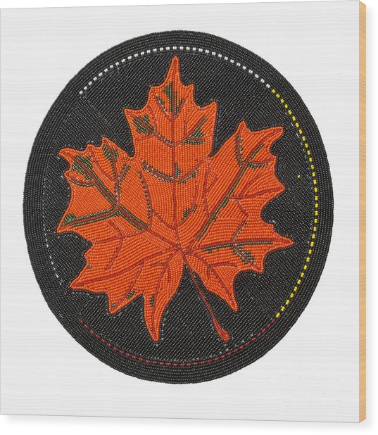 Cradleboard Beadwork Fall Maple Leaf Wood Print