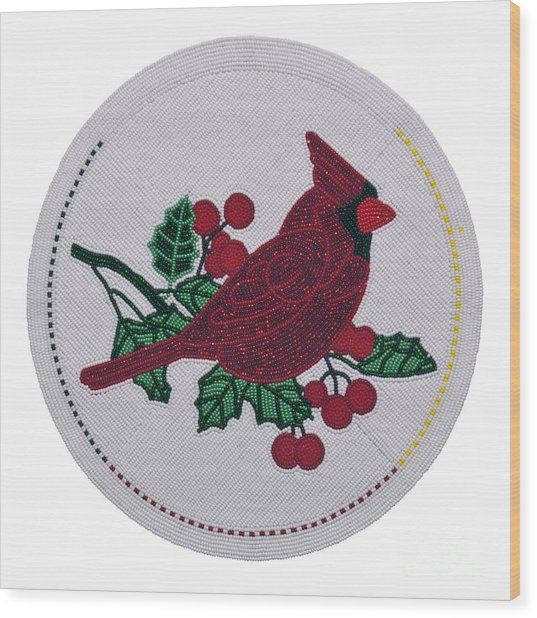 Cradleboard Beadwork Winter Cardinal Wood Print