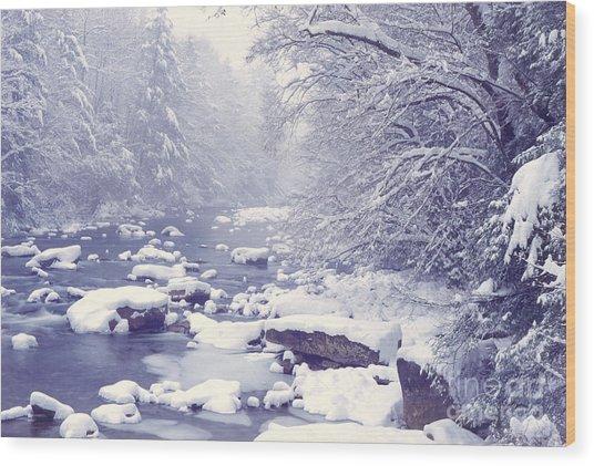 Cranberry River Heavy Snow Wood Print