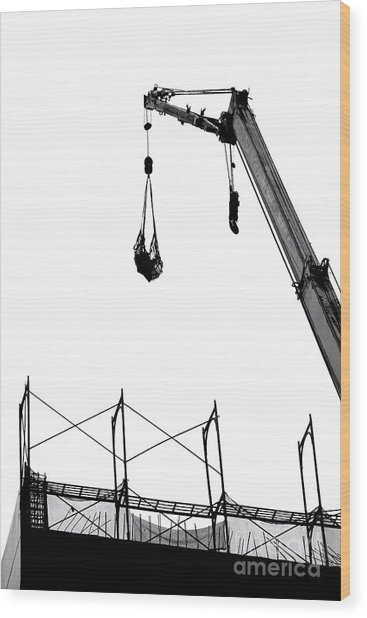 Crane And Construction Site Wood Print