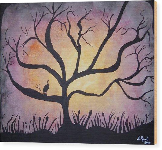 Crane At Sunset Wood Print by Susan Reed