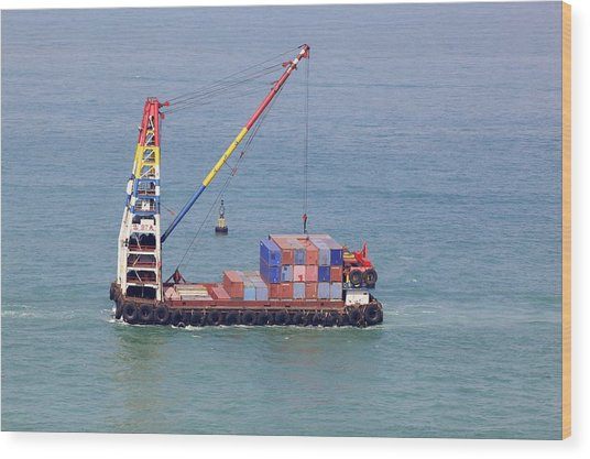 Crane Barge With Cargo Wood Print by Science Photo Library