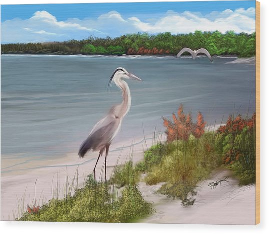 Crane By The Sea Shore Wood Print