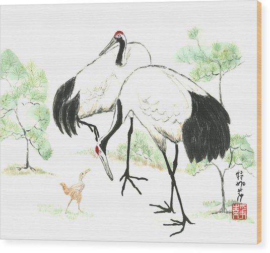 Crane Family Wood Print