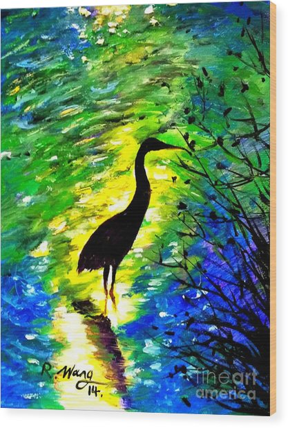 Crane In Lake Wood Print