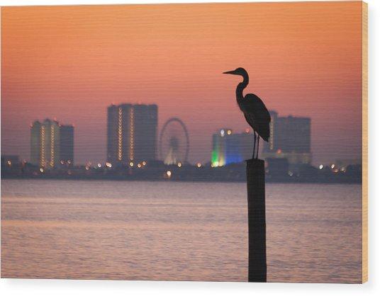 Crane On A Pier Wood Print
