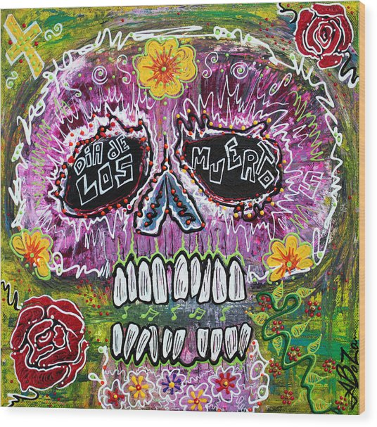 Craneo Rosado De Los Muertos Wood Print by Laura Barbosa