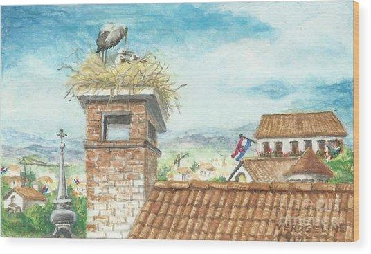 Cranes In Croatia Wood Print