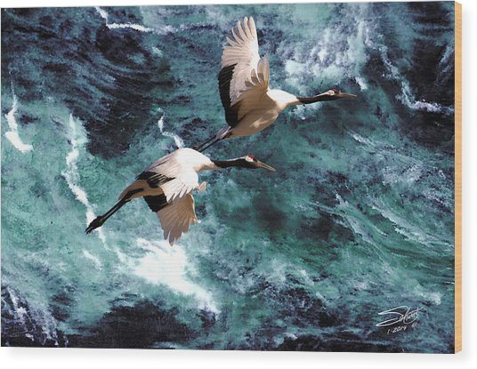 Cranes Over The Sea Of Japan Wood Print
