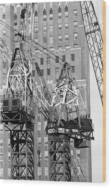 Cranes Ready For Action Wood Print