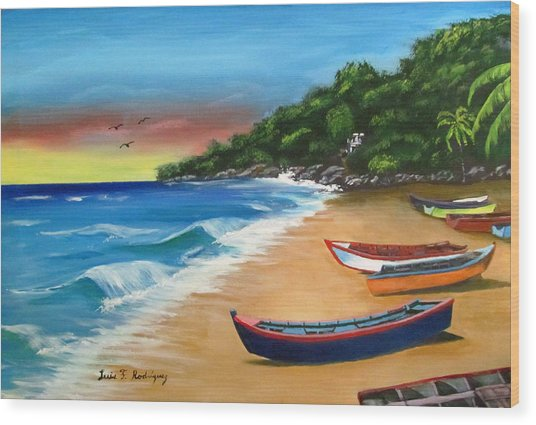 Crashboat Beach Wonder Wood Print