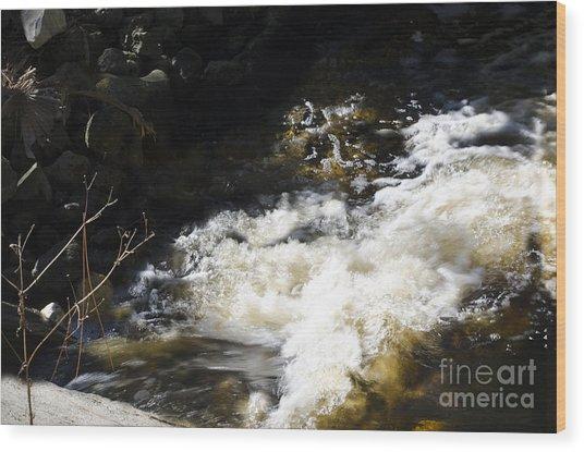 Crashing Water Wood Print