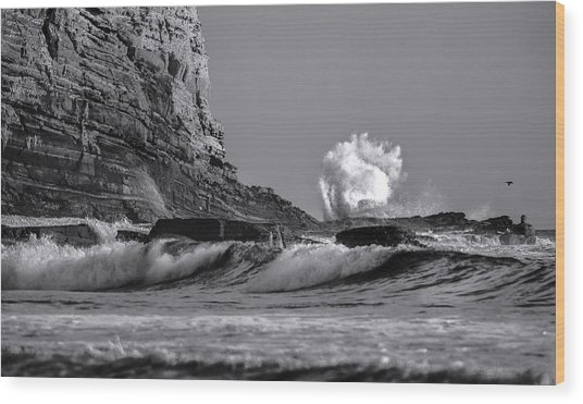 Crashing Waves At Cabrillo By Denise Dube Wood Print