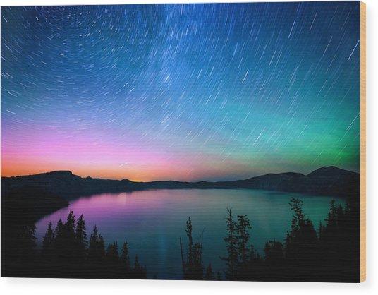 Crater Lake Aurora  Wood Print