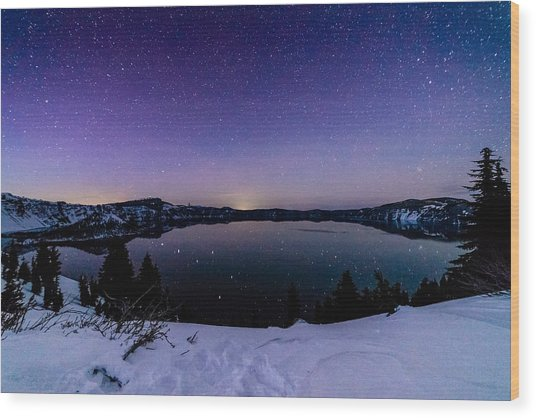 Crater Lake Reflections Wood Print