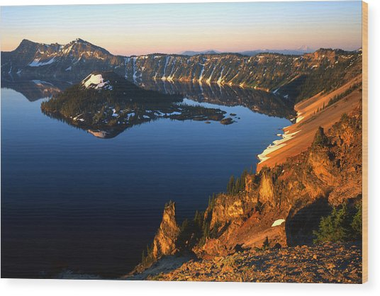 Crater Lake Sunrise Wood Print