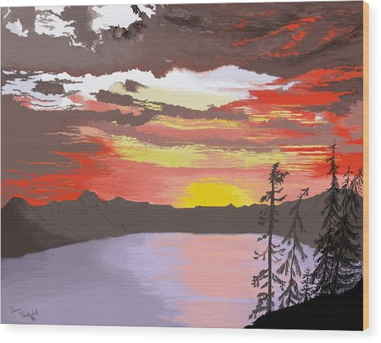 Crater Lake Wood Print