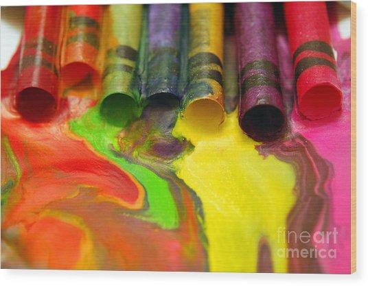 Crayon Cooperation Wood Print