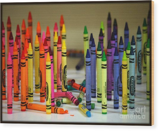 Crayon Wars Wood Print