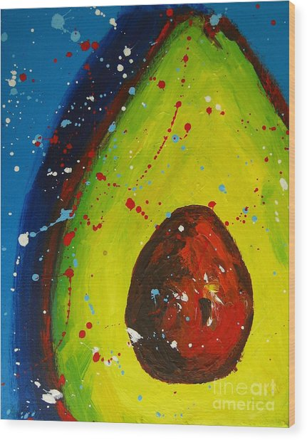 Crazy Avocado V Wood Print