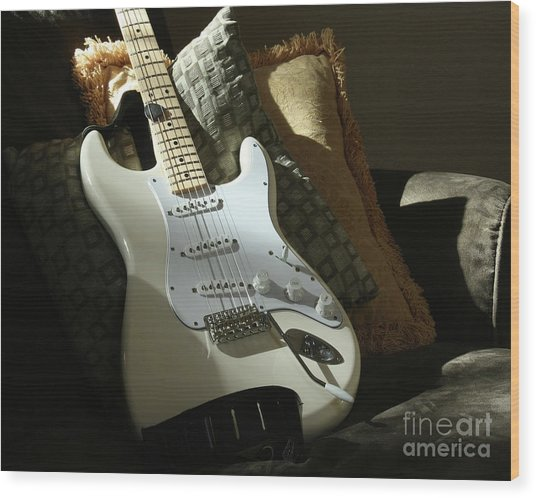 Cream Guitar Wood Print