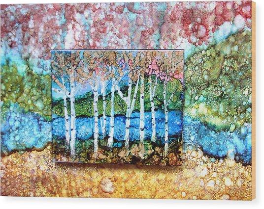 Creek Birches Wood Print
