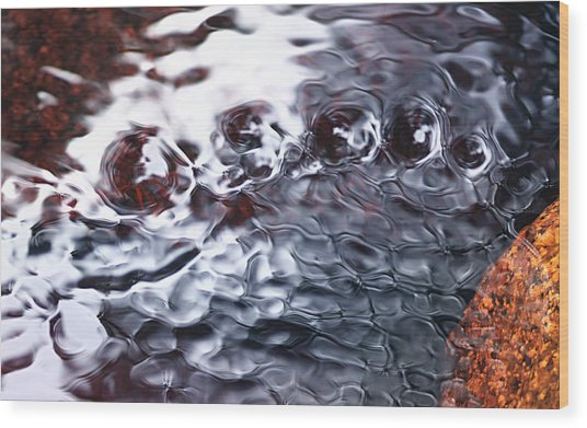 Creek Twirls Abstract Macro Wood Print