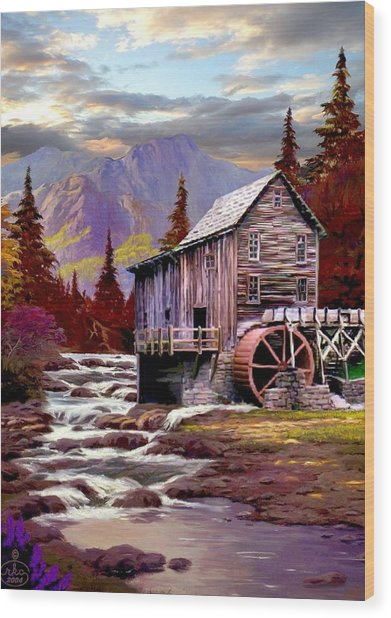 Creekside Mill Wood Print