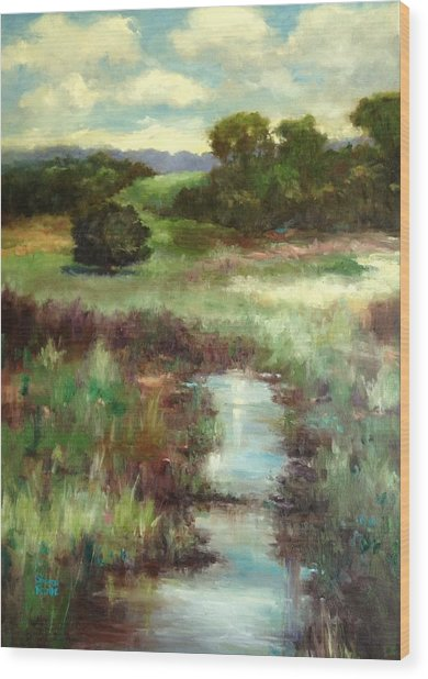Creekside Morning Wood Print