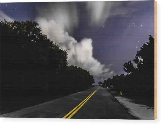 Creeping Clouds Wood Print