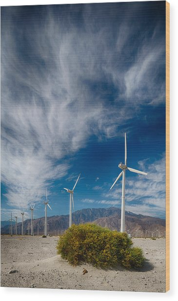 Creosote And Wind Turbines Wood Print