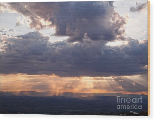 Crepuscular Light Rays Over Sedona From Jerome Arizona Wood Print
